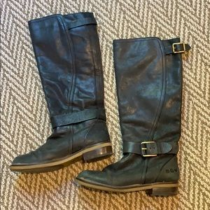 Black Lucky brand biker boots with gold buckles